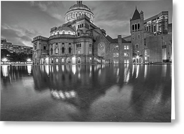 Boston Christian Science Building Reflecting Pool Black And White Greeting Card