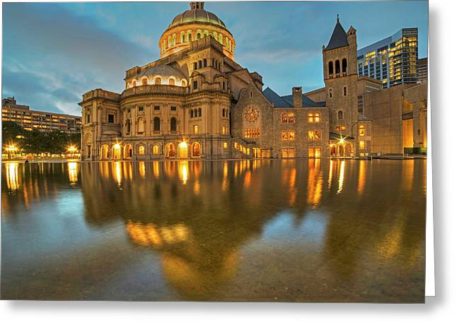 Boston Christian Science Building Reflecting Pool Greeting Card by Toby McGuire