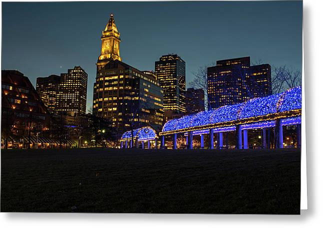 Boston Christopher Columbus Park Trellis Lit Up For Christmas Boston Ma Greeting Card by Toby McGuire