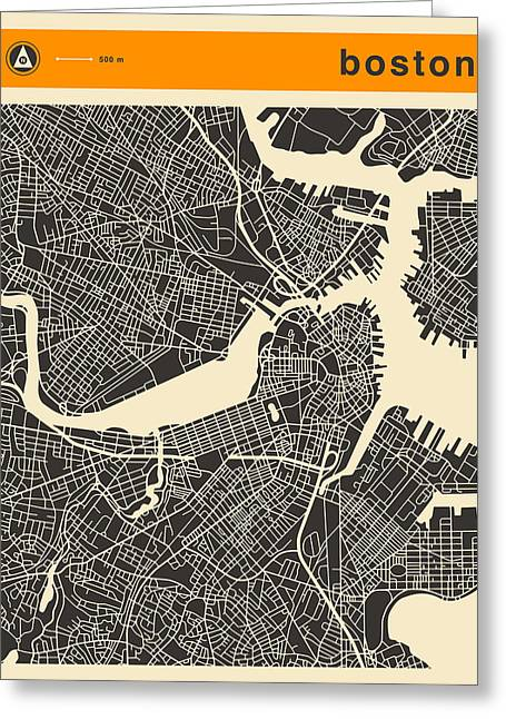 Boston Map Greeting Card