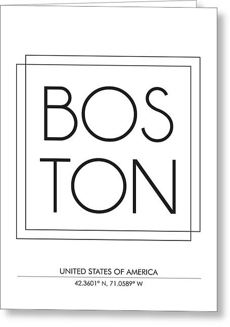 Boston City Print With Coordinates Greeting Card