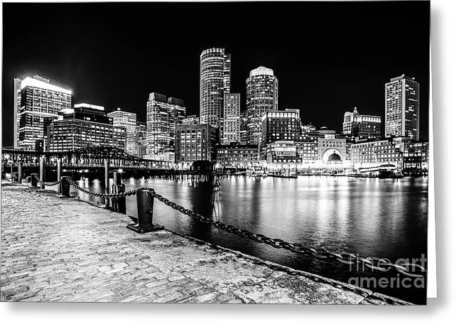Boston Cityscape At Night Black And White Photo  Greeting Card
