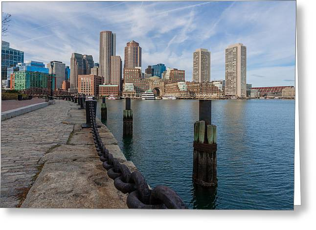 Boston Cityscape From The Seaport District 3 Greeting Card by Brian MacLean