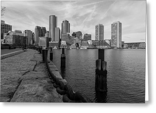 Boston Cityscape From The Seaport District In Black And White Greeting Card