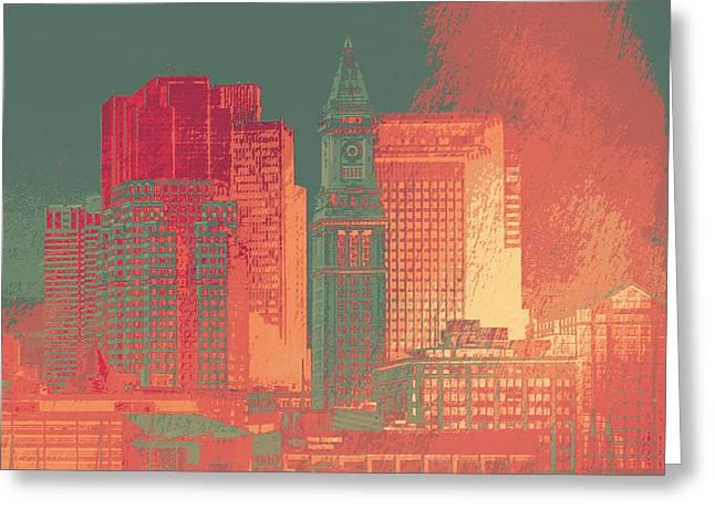 Boston Clock Tower V1 Greeting Card by Brandi Fitzgerald