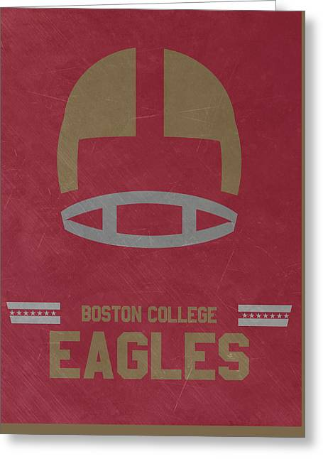 Boston College Eagles Vintage Football Art Greeting Card by Joe Hamilton