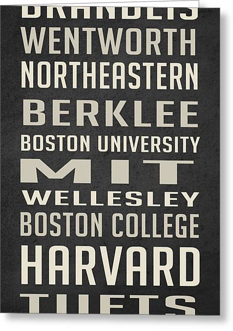 Boston Colleges Poster Greeting Card