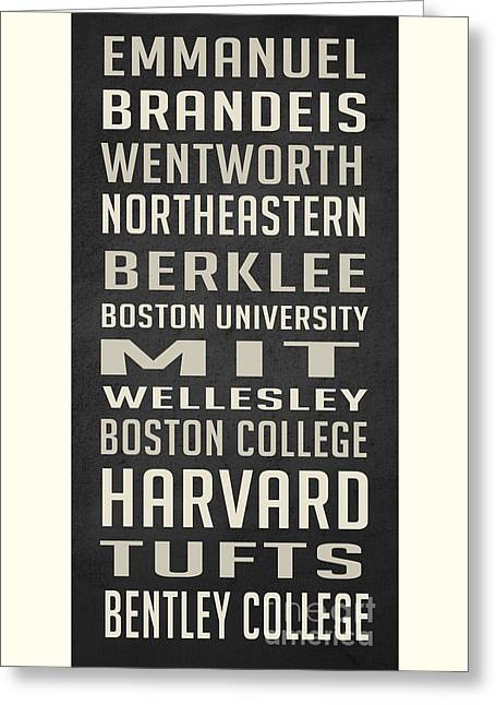 Boston Colleges Poster Greeting Card by Edward Fielding