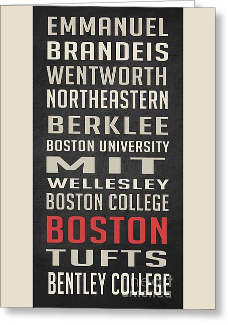 Boston Collegetown Greeting Card by Edward Fielding