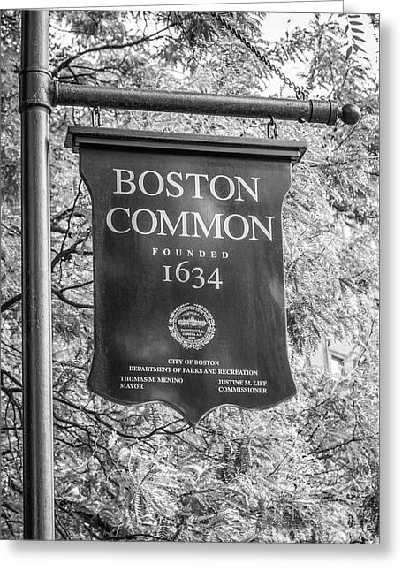 Boston Common Sign Black And White Photo Greeting Card by Paul Velgos