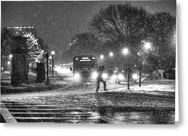Boston Common Snowstorm Ma Black And White Greeting Card