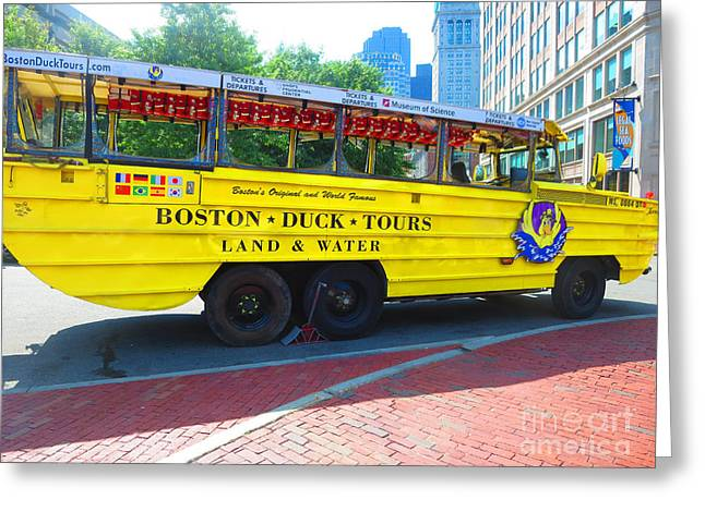 Boston Duck Tour Bus Turns Into A Boat When Entering The Lake Greeting Card by Navin Joshi