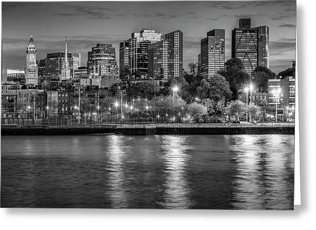 Boston Evening Skyline  - Monochrome Panorama Greeting Card