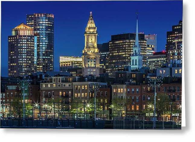 Boston Evening Skyline Of North End And Financial District Greeting Card