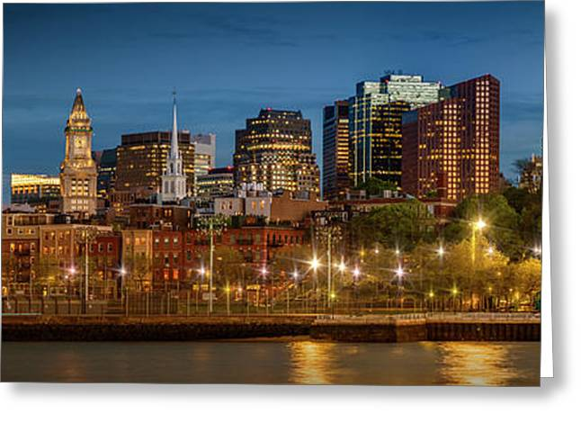 Boston Evening Skyline Of North End And Financial District - Panoramic Greeting Card