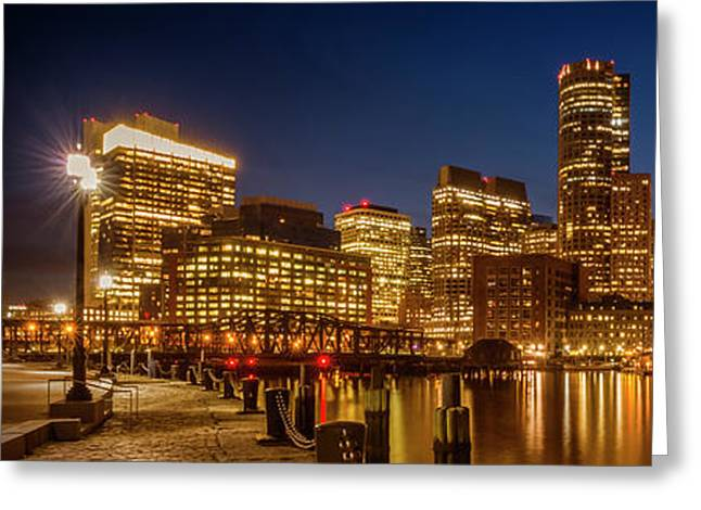 Boston Fan Pier Park And Skyline In The Evening - Panoramic Greeting Card