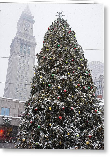 Boston Faneuil Christmas Tree Snow Covered With Custom House Overhead Greeting Card