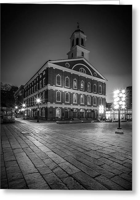 Boston Faneuil Hall In The Evening - Monochrome Greeting Card