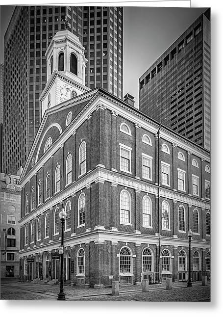 Boston Faneuil Hall - Monochrome Greeting Card