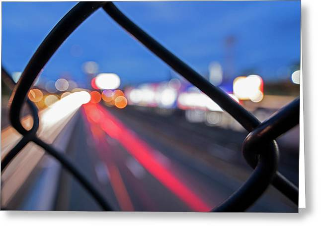 Boston Fence Abstract Mass Pike Greeting Card
