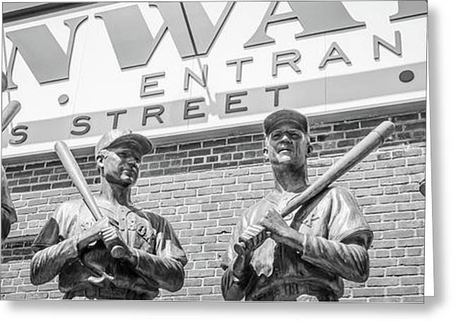Boston Fenway Park Sign And Four Bronze Statues Greeting Card by Paul Velgos