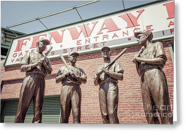 Boston Fenway Park Sign Gate B Statues Greeting Card
