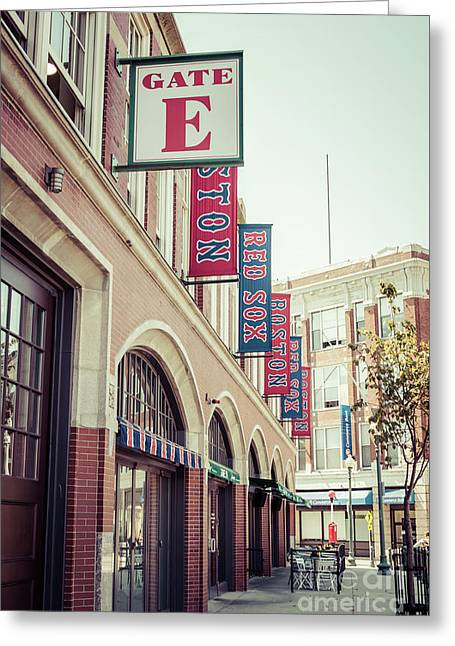 Boston Fenway Park Sign Gate E Entrance Greeting Card by Paul Velgos