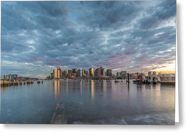 Boston From Carletons Whahrf Greeting Card