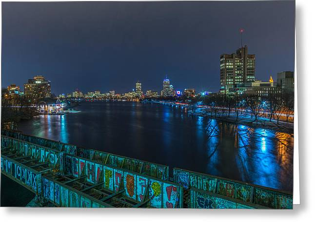 Boston From The Boston University Bridge Greeting Card