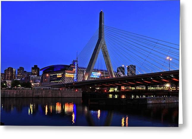 Boston Nights Greeting Cards - Boston Garden and Zakim Bridge Greeting Card by Rick Berk