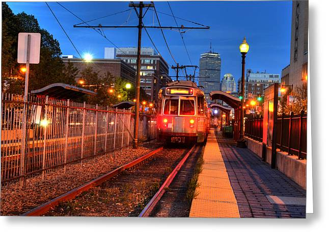 Boston Green Line Train Headed To Kenmore Square Greeting Card