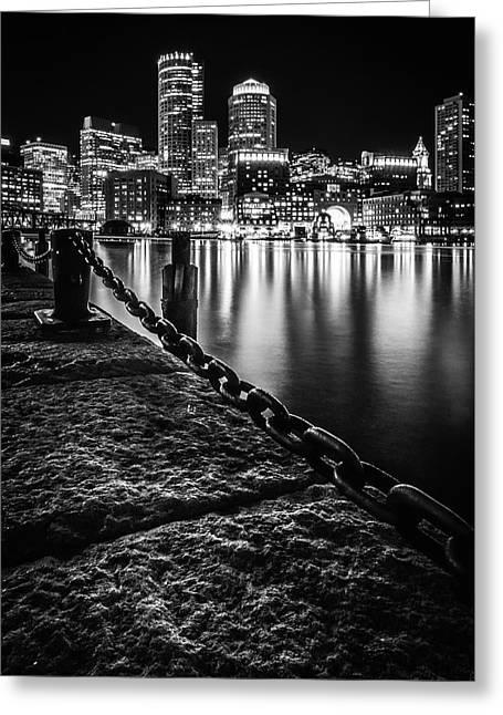 Boston Harbor At Night Greeting Card