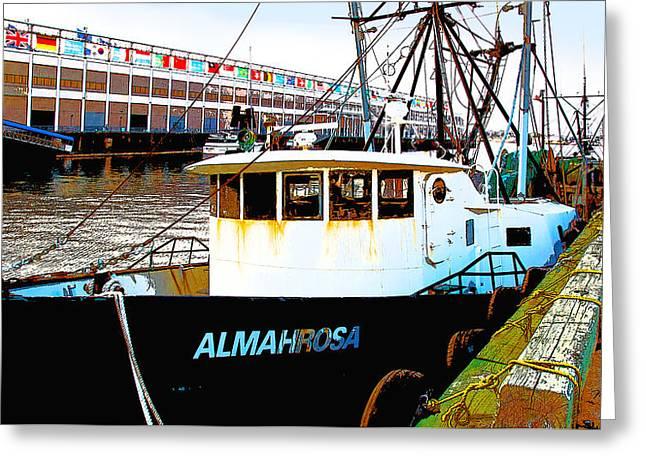 Boston Harbor Fishing Boats Greeting Card