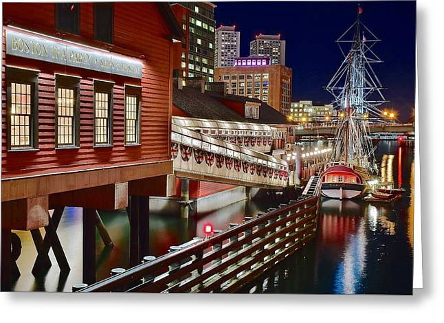 Boston Harbor Greeting Card by Frozen in Time Fine Art Photography