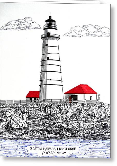 Boston Harbor Lighthouse Dwg Greeting Card by Frederic Kohli