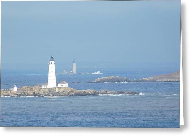 Boston Harbor Lighthouses Greeting Card by Catherine Gagne