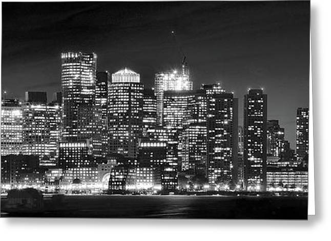 Boston Harbor Panorama In Black And White Greeting Card by Frozen in Time Fine Art Photography