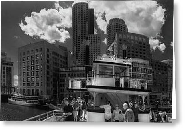 Boston Harbor Panoramic In Black And White Greeting Card