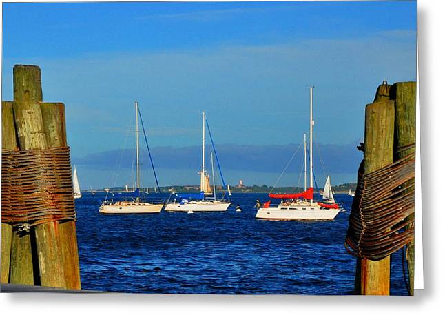 Boston Harbor Picture Perfect Greeting Card by Andrew Dinh