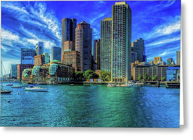 Boston Harbor Reflected Greeting Card