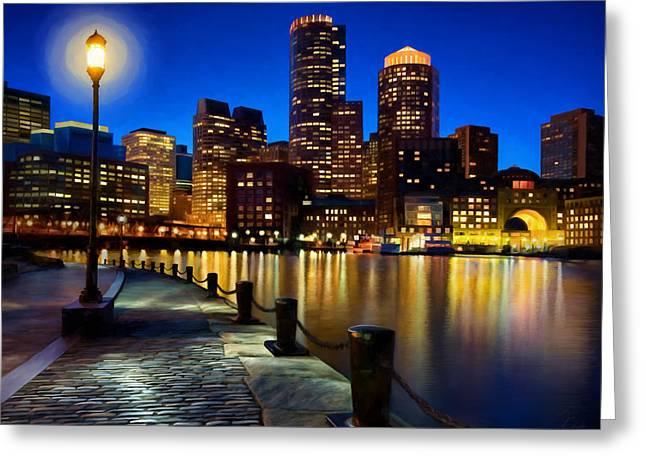 Boston Harbor Skyline Painting Of Boston Massachusetts Greeting Card