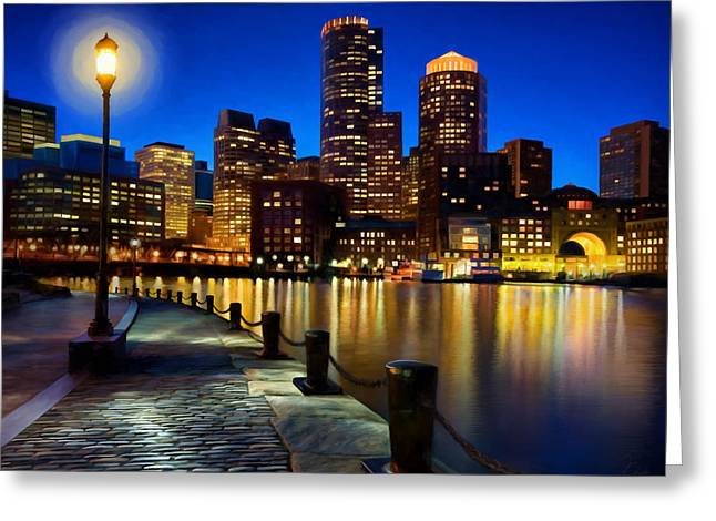 Boston Harbor Skyline Painting Of Boston Massachusetts Greeting Card by James Charles