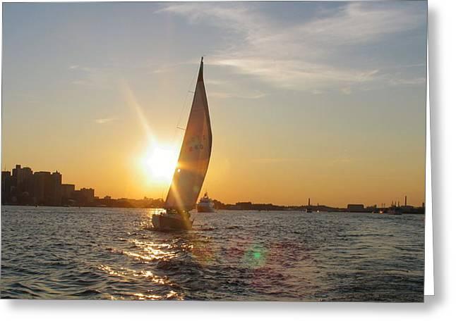 Boston Harbor Sunset Greeting Card