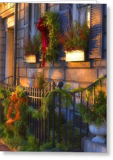 Boston Holiday Doorstep Greeting Card