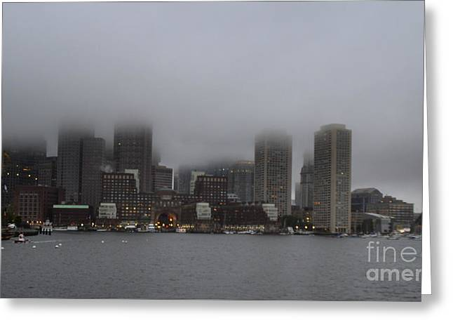 Boston In The Fog Greeting Card
