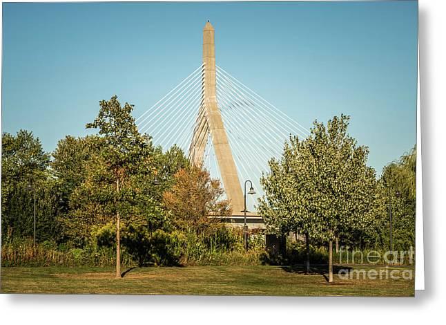 Boston Leonard Zakim Bunker Hill Bridge Photo Greeting Card by Paul Velgos