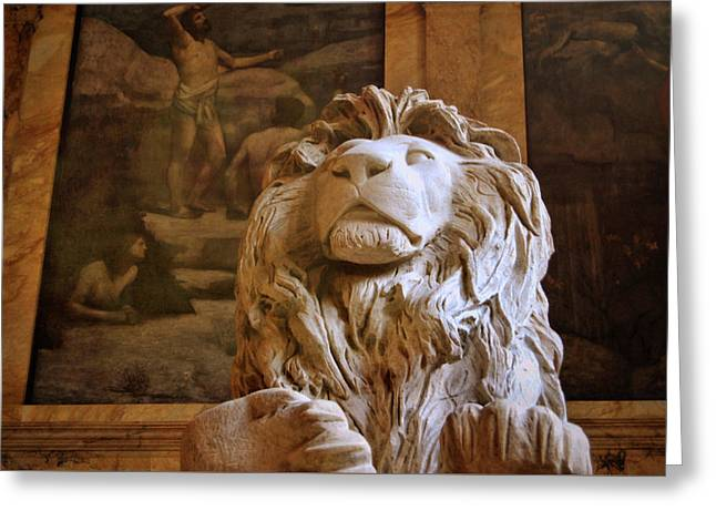Boston Library Guardian Greeting Card by JAMART Photography