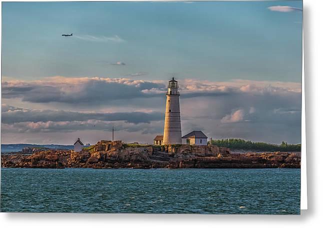 Boston Lighthouse Sunset Greeting Card