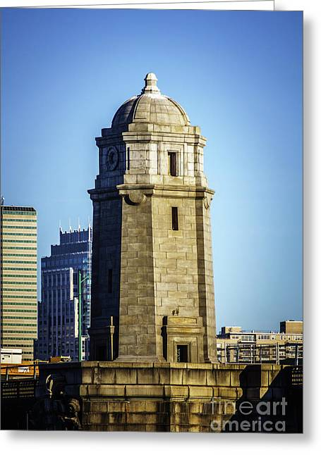 Boston Longfellow Bridge Tower Photo Greeting Card