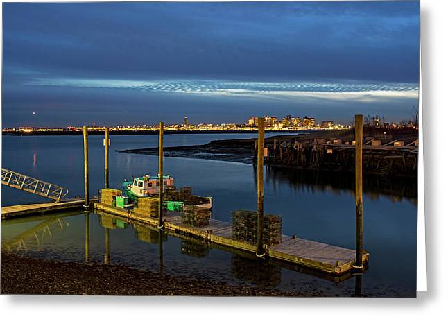 Boston Ma Belle Isle Boat Pier And Skyline Logan Airport Greeting Card by Toby McGuire